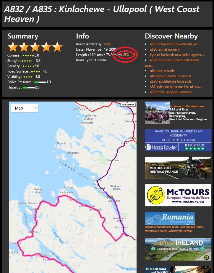 Download motorroute als gpx bestand